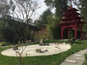 ジュネーブの植物園の石庭の写真